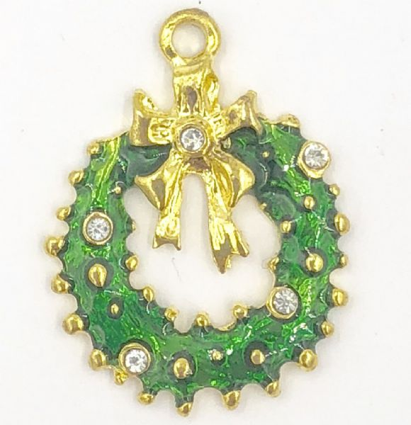 Enamel christmas reef charm green - 18mm x 19mm - gold